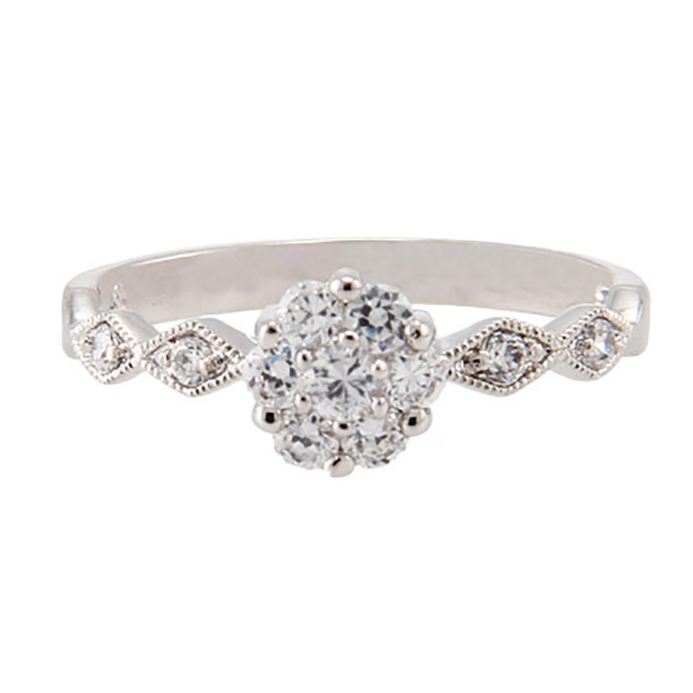 precious flower and sway band cz promise ring s