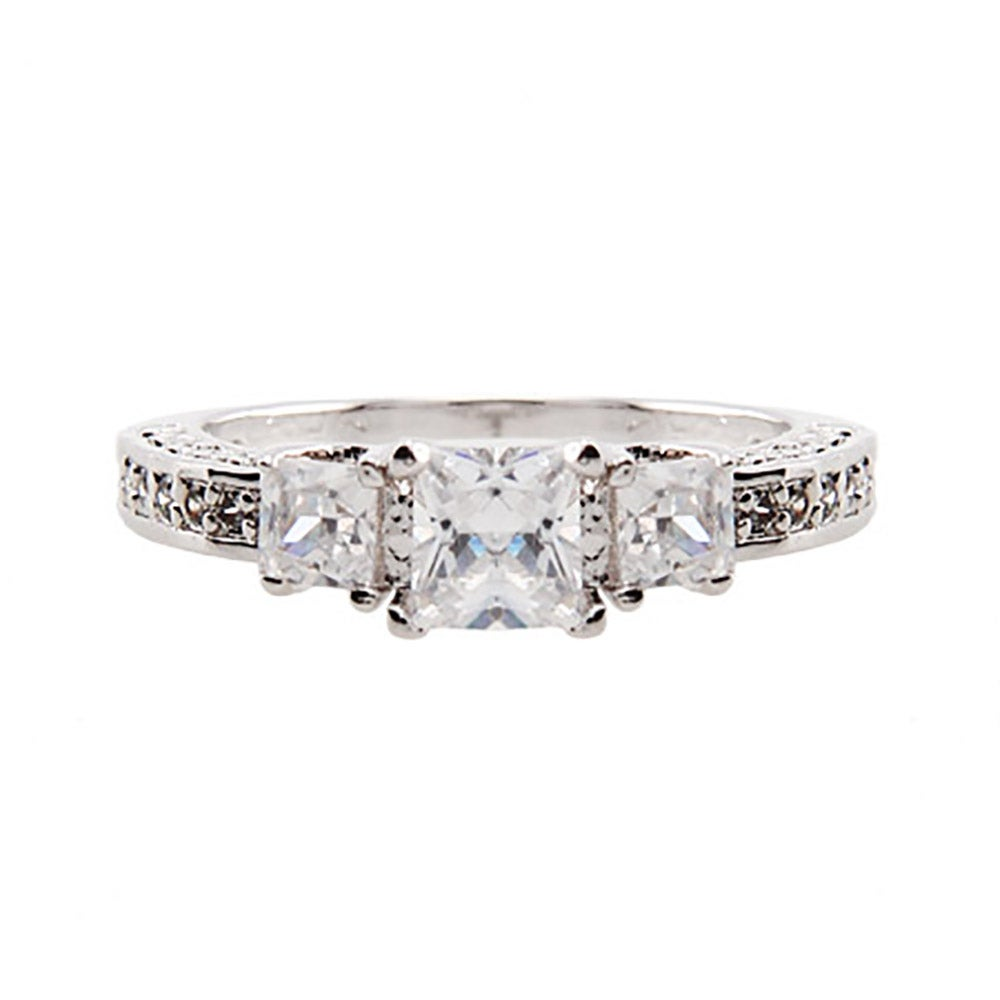 princess cut cz past present and future ring