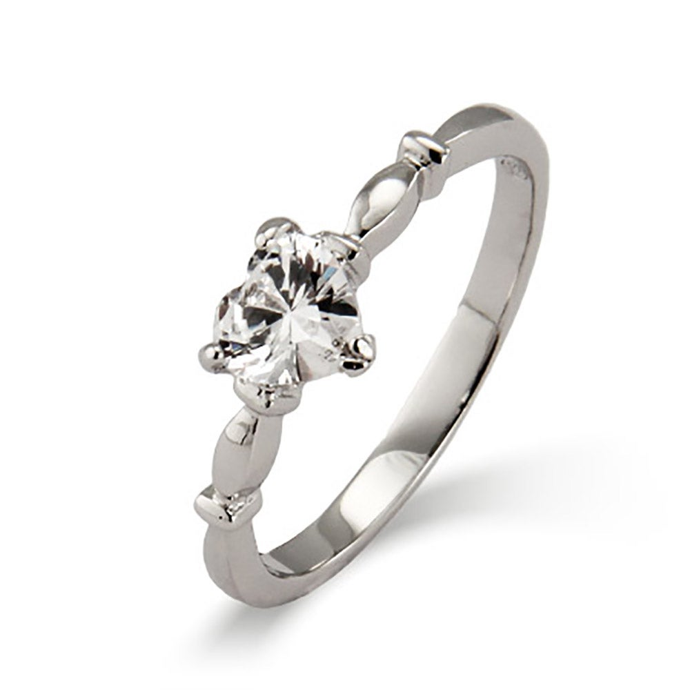 Silver Simple CZ Heart Promise Ring | Eve's Addiction®