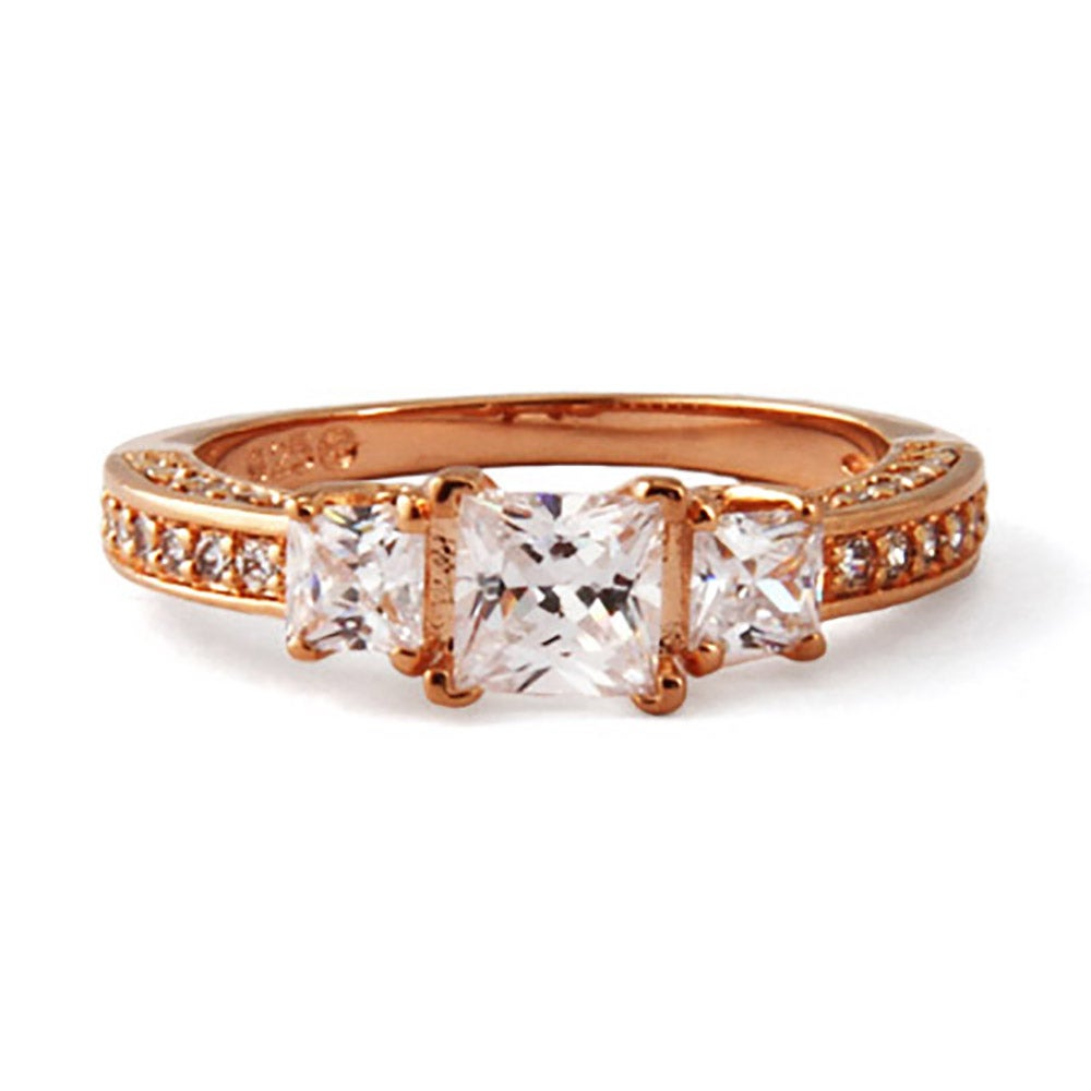 gold princess cut cz past present and future ring