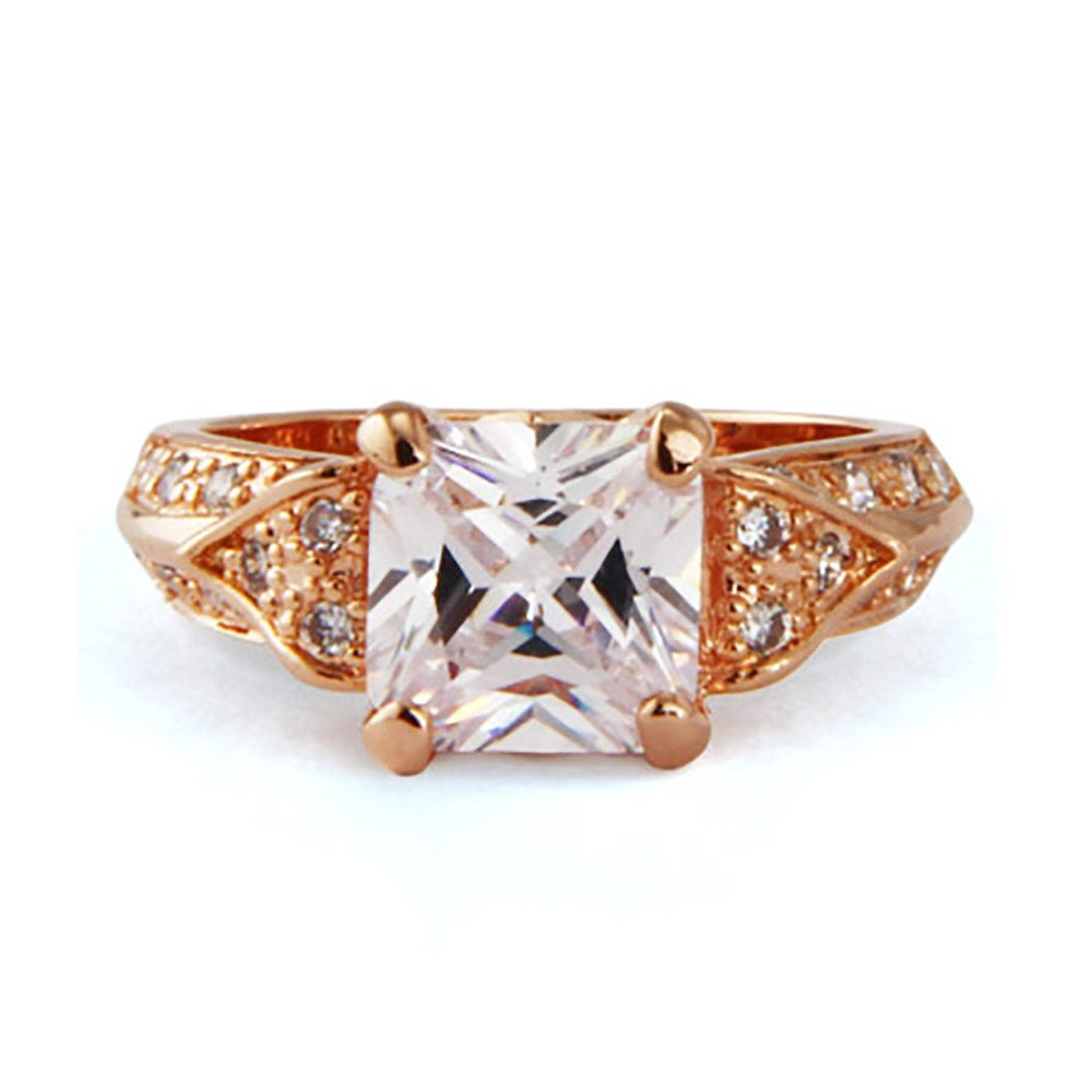 deco style rose gold princess cut cz engagement ring eve 39 s addiction. Black Bedroom Furniture Sets. Home Design Ideas