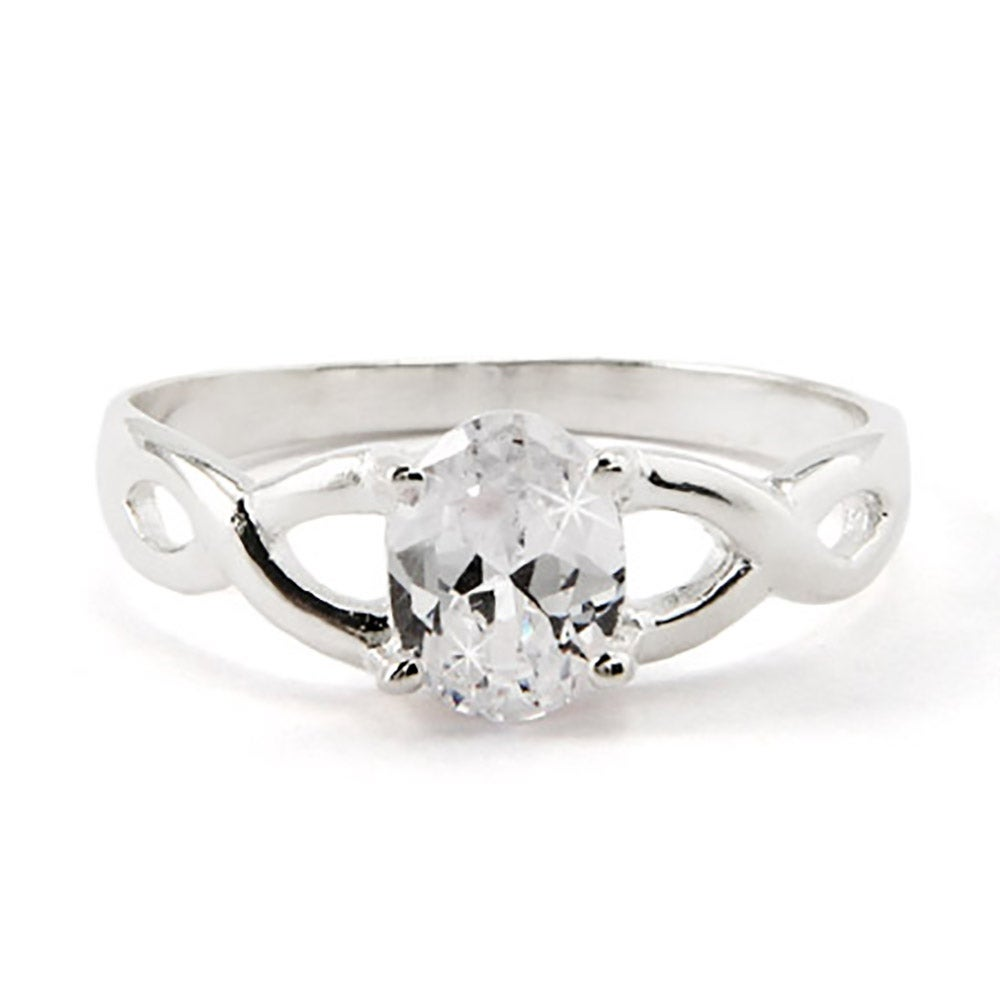 oval cut cz infinity promise ring