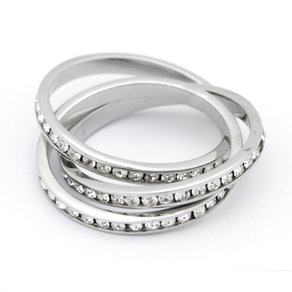 roll cz eternity band sterling silver ring s