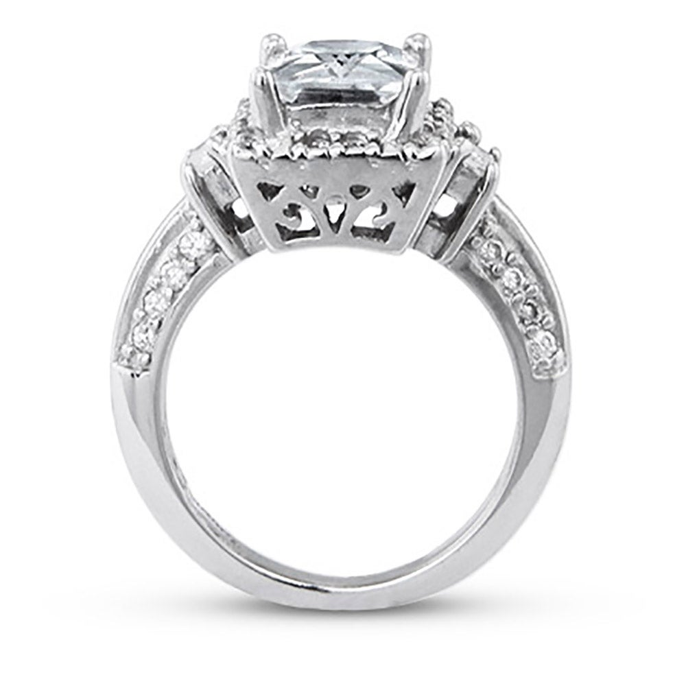 2 6 carat emerald cut cz engagement ring with