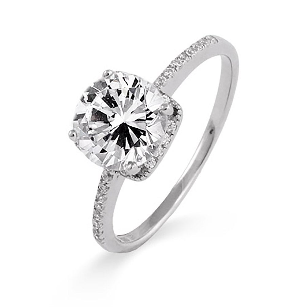 sterling silver 2 carat brilliant cut cz engagement ring - Cubic Zirconia Wedding Rings That Look Real