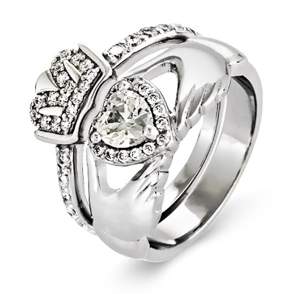 silver cz claddagh engagement ring set | eve's addiction®