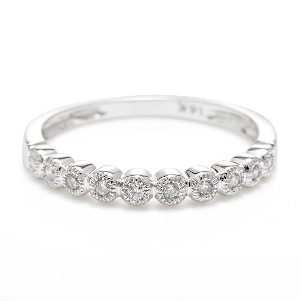 14K White Gold Milgrain Bubbles Diamond Ring