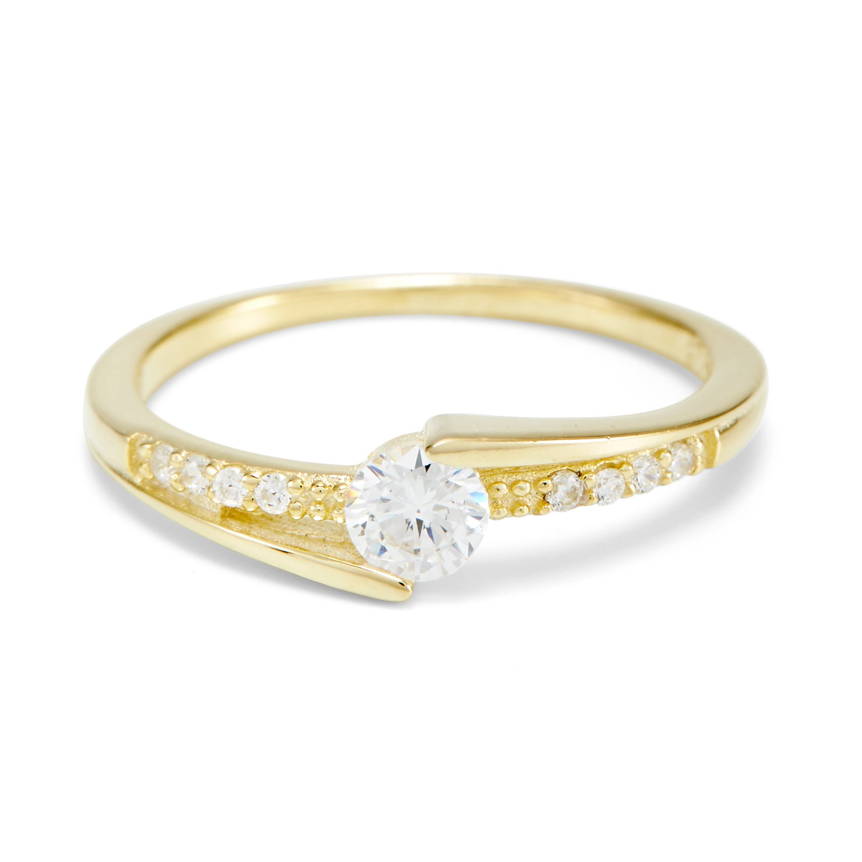 brilliant cut cz promise ring with side accents