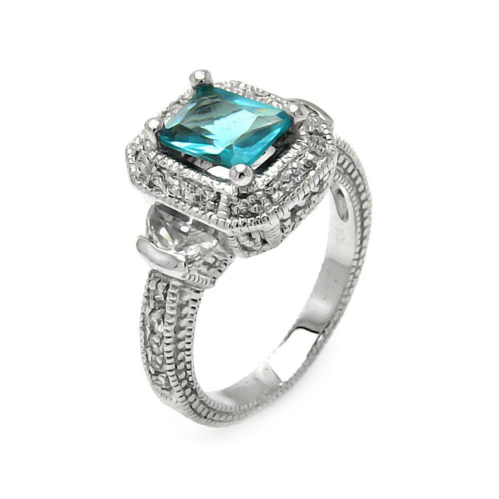 vintage style emerald cut aquamarine cz cocktail ring