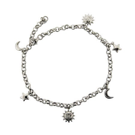 Sun, Moon, and Stars Anklet in Sterling Silver | Eve's Addiction®