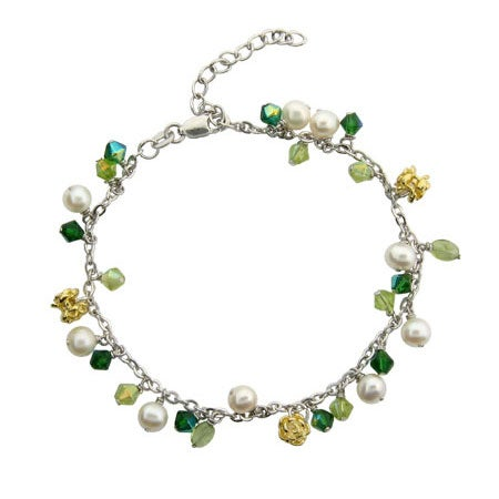 Peridot Stones & White Pearls Anklet | Eve's Addiction®