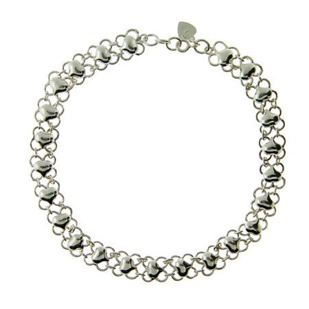 Sterling Silver Puffed Heart Anklet | Eve's Addiction®