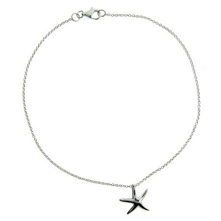 Designer Style Sterling Silver Starfish Anklet | Eve's Addiction®