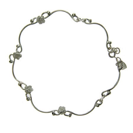 Sterling Silver Rose Trellis Anklet | Eve's Addiction®