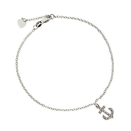 Designer Style CZ Anchor Charm Anklet | Eve's Addiction®