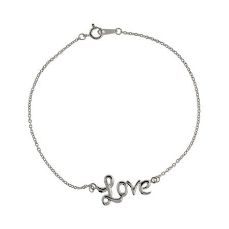 Cursive Love Sterling Silver Anklet | Eve's Addiction®