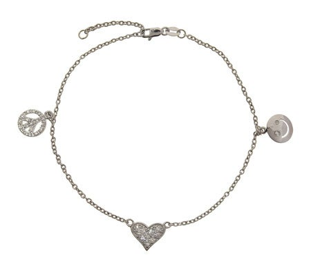 Peace, Love and Happiness CZ Silver Anklet | Eve's Addiction®