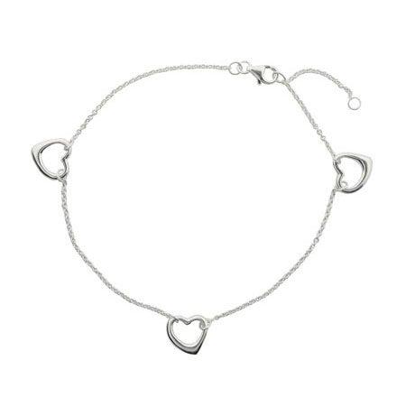 Sterling Silver Triple Hearts Ankle Bracelet | Eve's Addiction®