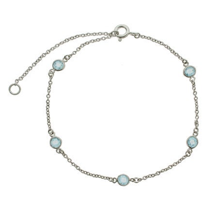 Blue Topaz CZ Studded Anklet | Eve's Addiction