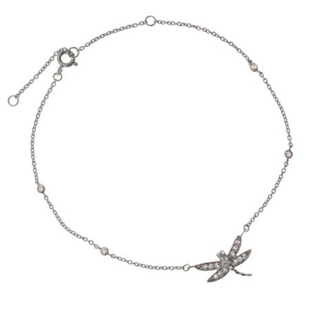 Cubic Zirconia Sterling Silver Dragonfly Anklet | Eve's Addiction®