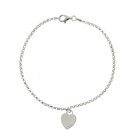 Sterling Silver Heart Tag Anklet | Eve's Addiction®