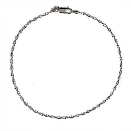 Thin Beaded Snake Chain Sterling Silver Anklet | Eve's Addiction®