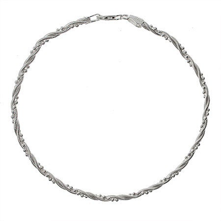 Twisted Bead Snake Chain Sterling Silver Anklet | Eve's Addiction®