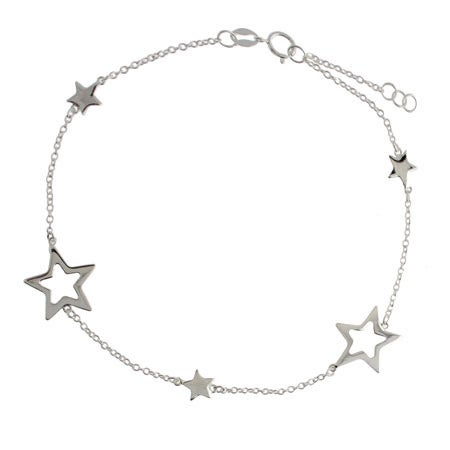 Designer Style Sterling Silver Stars Anklet | Eve's Addiction®