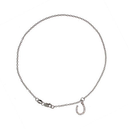 Designer Style CZ Silver Horseshoe Anklet | Eve's Addiction®