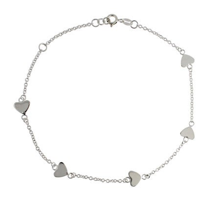 Chain of Hearts Sterling Silver Anklet | Eve's Addiction®