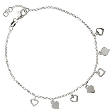Sterling Silver Alternating Hearts Charm Anklet | Eve's Addiction