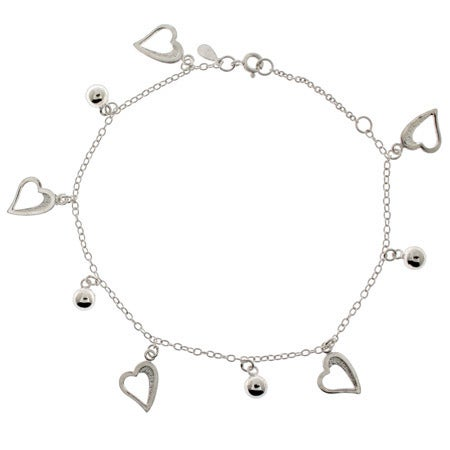 Sterling Silver Hearts and Beads Charm Anklet | Eve's Addiction®