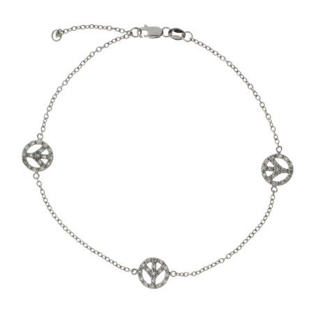 Sparkling Pave CZ Triple Peace Sign Anklet | Eve's Addiction®