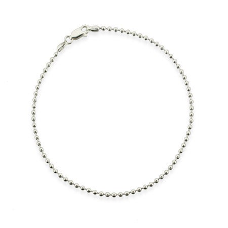Sterling Silver 2.2mm Bead Ankle Bracelet | Eve's Addiction®