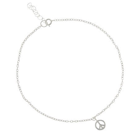 Sterling Silver Peace Sign Anklet | Eve's Addiction®