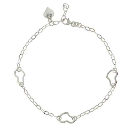 Oval Link Triple Heart Anklet in Sterling Silver | Eve's Addiction®