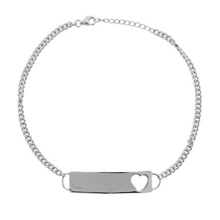 Engravable Heart ID Sterling Silver Anklet | Eve's Addiction®