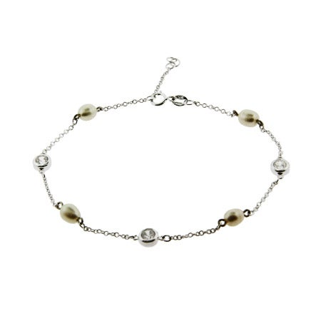 Designer Style Pearl and CZ Studded Chain Anklet | Eve's Addiction®