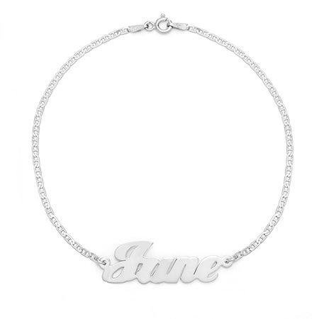 Custom Nameplate Sterling Silver Anklet | Eve's Addiction