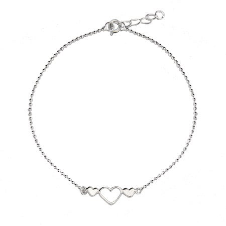 Open Heart Beaded Anklet in Sterling Silver | Eve's Addiction®