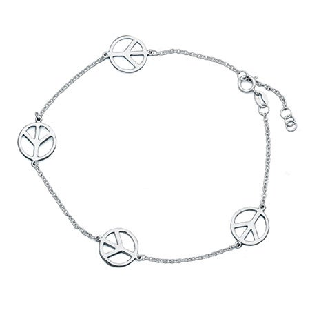 Peace Sign Sterling Silver Anklet | Eve's Addiction®