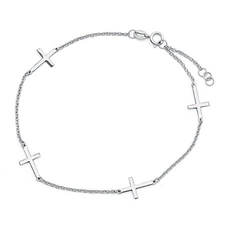 Sideways Cross Sterling Silver Anklet | Eve's Addiction®