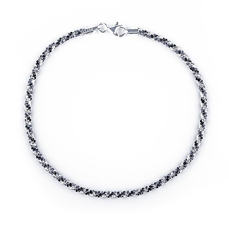 Black and White Twisted Silver Anklet | Eve's Addiction®