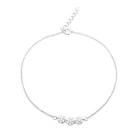 Three Flower CZ Sterling Silver Anklet | Eve's Addiction®