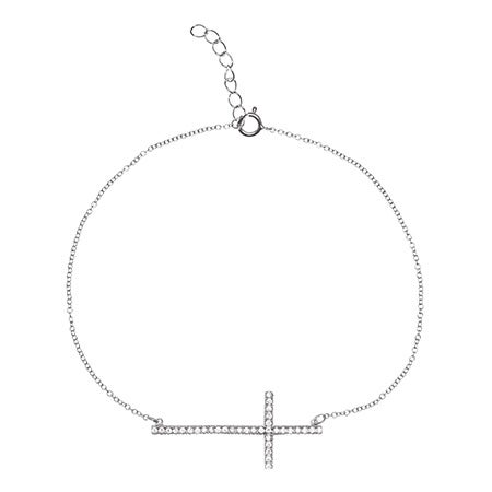 Sideways Cross CZ Sterling Silver Anklet