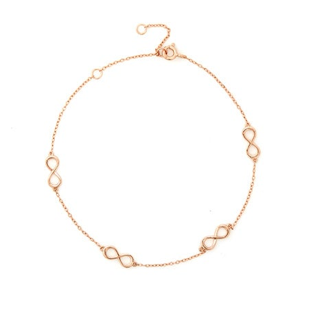 Adjustable Infinity Anklet In Rose Gold Vermeil | Eve's Addiction®