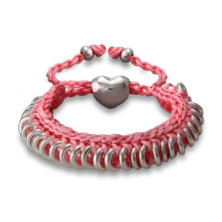 Pink Braided Friendship Bracelet with Engravable Heart | Eve's Addiction®