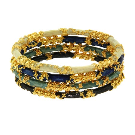 Gold Encrusted Elemental Union Stackable Bangles | Eve's Addiction®