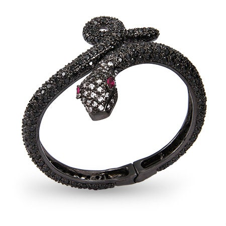 Black CZ Python Bangle Bracelet | Eve's Addiction®