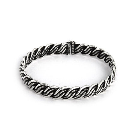 Oxidized Braided Bali Bangle Bracelet | Eve's Addiction